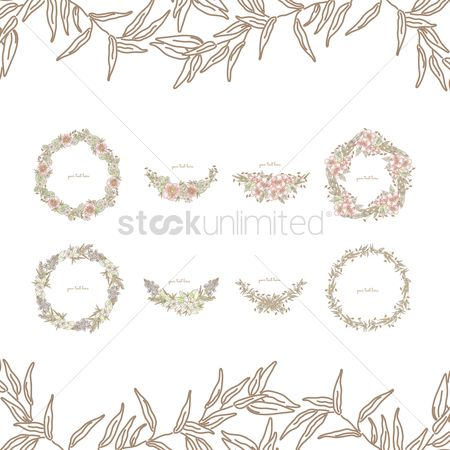 Copy space : Collection of floral frames