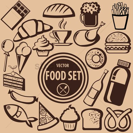 French : Collection of food icons
