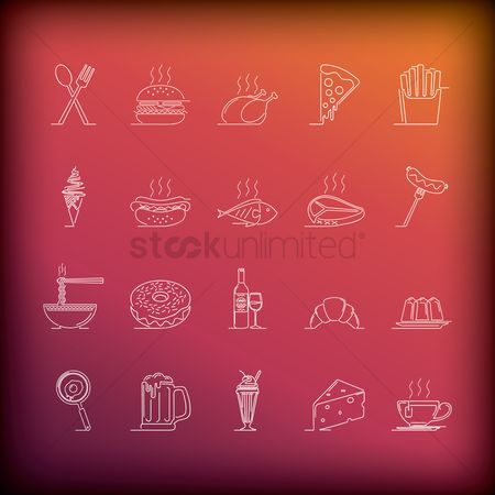 Croissants : Collection of food icons