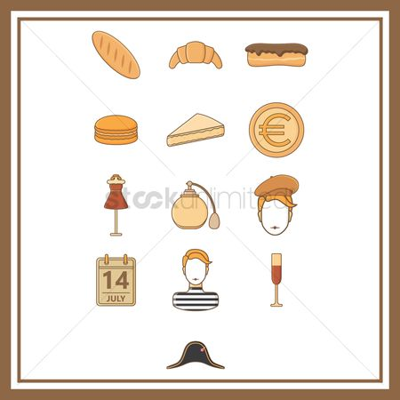 Croissants : Collection of france general icons