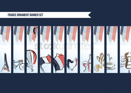 Croissants : Collection of france ornament banner