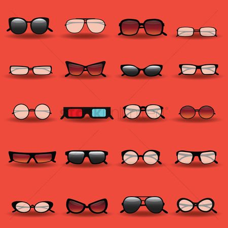 Red : Collection of glasses