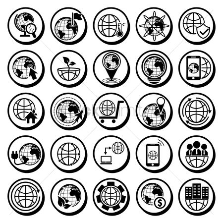 Workers : Collection of globe icons