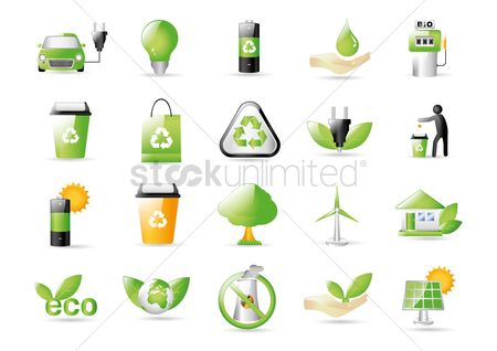 Caution : Collection of go green icons