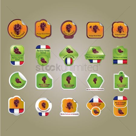Tricolored : Collection of grape harvest festival stickers
