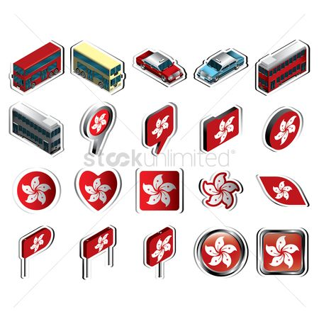 Tram : Collection of hong kong flag icons