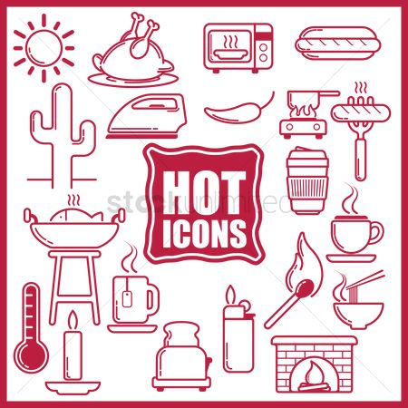 Lighter : Collection of hot food and equipment icons