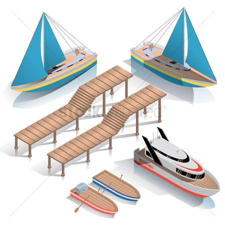 Vessel : Collection of isometric boats and jetty