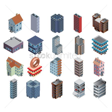 Buildings : Collection of isometric buildings