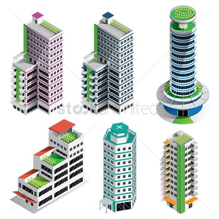Office  building : Collection of isometric buildings