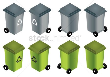 Recycle bin : Collection of isometric recycle bins