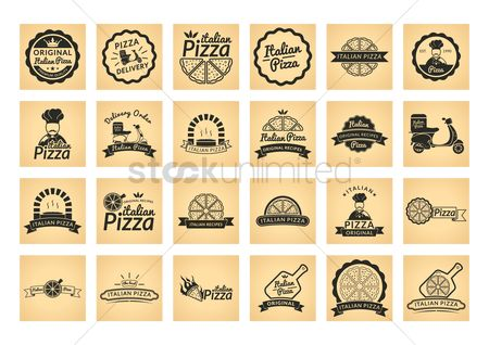 Pizza delivery : Collection of italian pizza label
