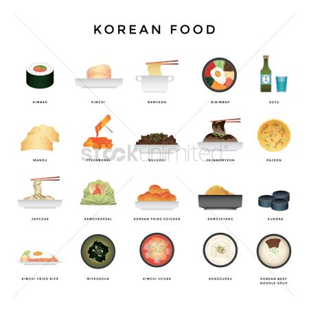 Lettuce : Collection of korean food icons