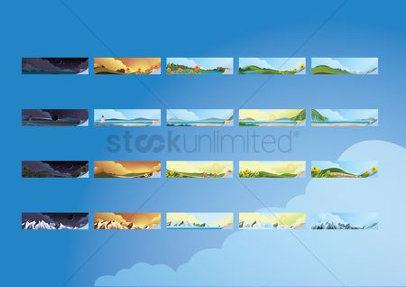 Lighthouses : Collection of landscape banners
