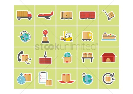 Hand truck : Collection of logistics icons