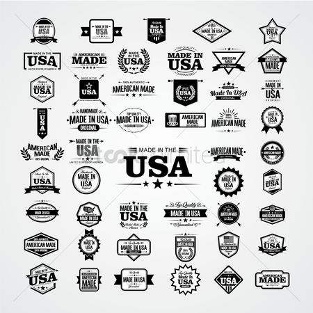 United states : Collection of made in america labels