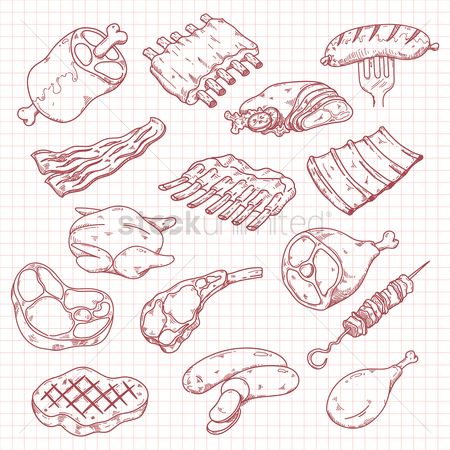 Sausage : Collection of meat icons