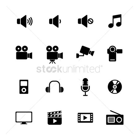 Old fashioned : Collection of media icons