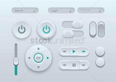 Power button : Collection of media player buttons