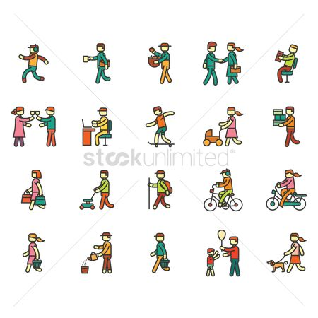 Activities : Collection of men and women with different activities