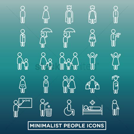 Wheelchair : Collection of minimalist people icons
