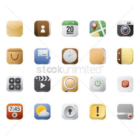 Power button : Collection of mobile application icons