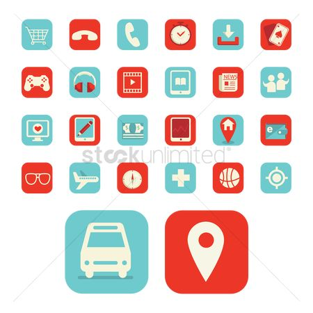 Map pin : Collection of mobile application icons