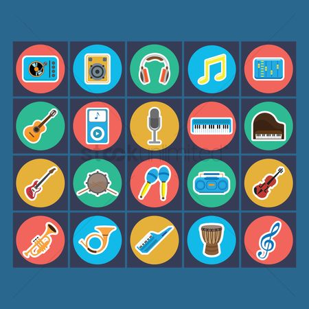 Microphones : Collection of music icon