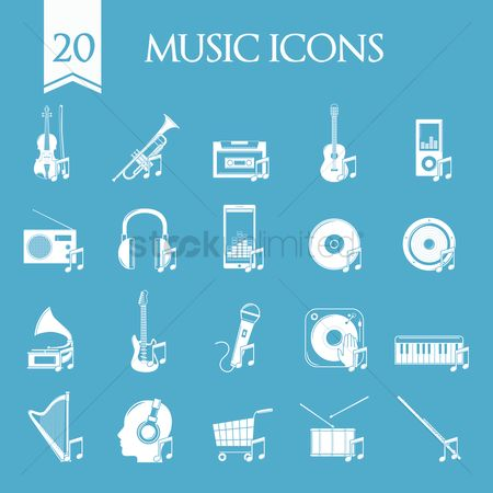 Audio : Collection of music icons