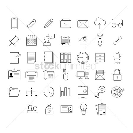 Linear : Collection of office icons