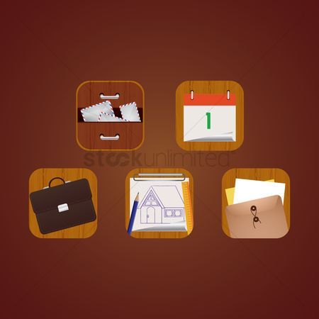 Sticky note : Collection of office icons