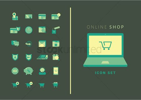 Password : Collection of online shopping icons