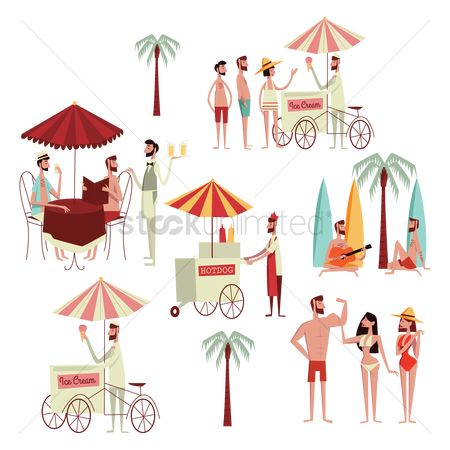 Food cart : Collection of people s activities at beach