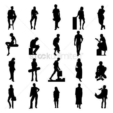 Skateboard : Collection of people silhouette
