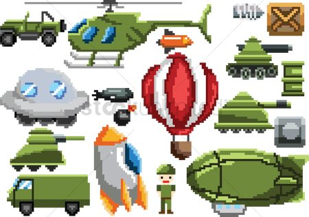 Spaceships : Collection of pixel art items