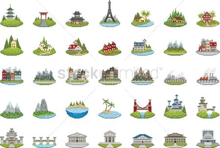 Asia : Collection of pixel buildings