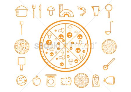 Chimneys : Collection of pizza making icons