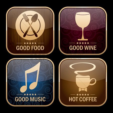 Coffee cups : Collection of restaurant icons