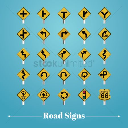Caution : Collection of road signboards