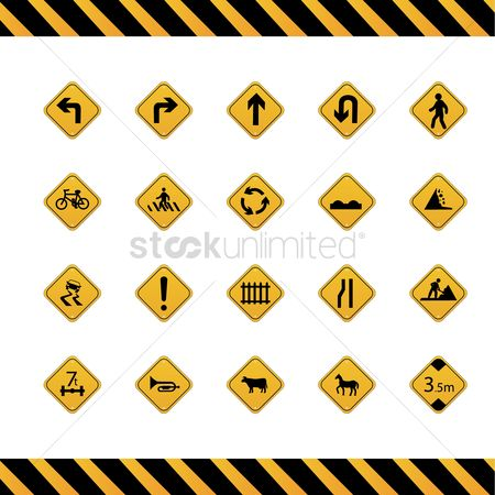 Attention : Collection of road signs