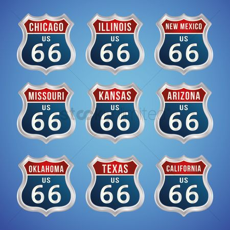 Kansas : Collection of route 66 badges