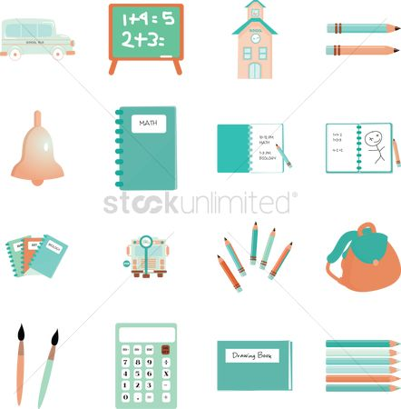 Blackboard : Collection of school items
