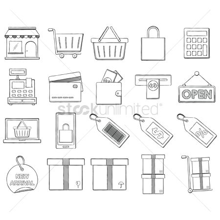 Awning : Collection of shopping icons