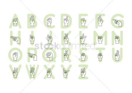 Fonts : Collection of sign language letters