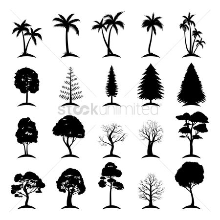Fruit : Collection of silhouette trees