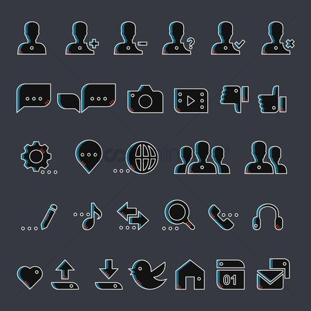 Love speech bubble : Collection of social media icons