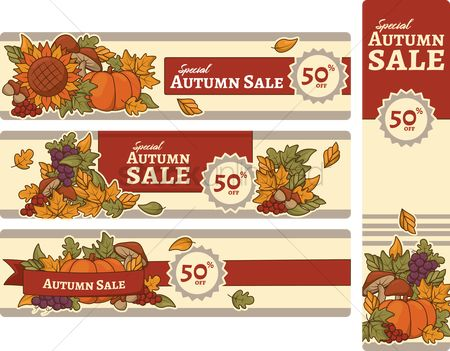 Grapes : Collection of special autumn sale banners