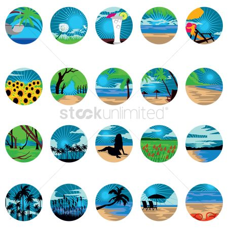Beverage : Collection of summer landscapes