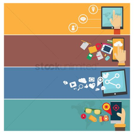 Photography : Collection of technological web banner designs