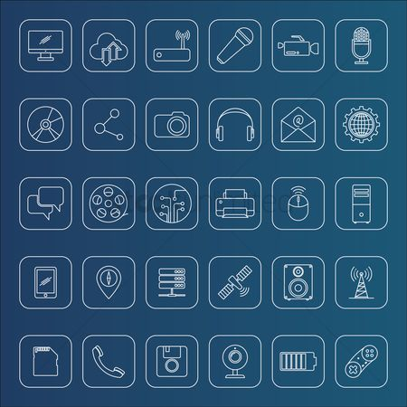 Microphones : Collection of technology icons